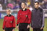 27 April 2008: Match referee Margaret Domke (center) with Assistant Referee Kathleen Casto (l) and Fourth Official Chris Spivey (r). The United States Women's National Team defeated the Australia Women's National Team 3-2 at WakeMed Stadium in Cary, NC in a rain delayed women's international friendly soccer match.