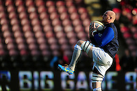 Matt Garvey of Bath Rugby claims the ball during the pre-match warm-up. Aviva Premiership match, between Harlequins and Bath Rugby on November 27, 2016 at the Twickenham Stoop in London, England. Photo by: Patrick Khachfe / Onside Images