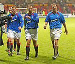Partick v Rangers 1.2.2004: Ronald and Frank de Boer at the end in the pissing Firhill rain