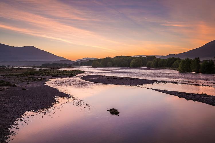 The Ahuriri RIver at sunrise from near Omarama, South Canterbury, New Zealand