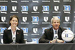 20 April 2007: Duke University Director of Athletics Joe Alleva (right) introduces new Women's Basketball head coach Joanne McCallie (left). Duke University held a press conference to introduce new Women's Basketball head coach Joanne P. McCallie in Cameron Indoor Stadium in Durham, North Carolina.