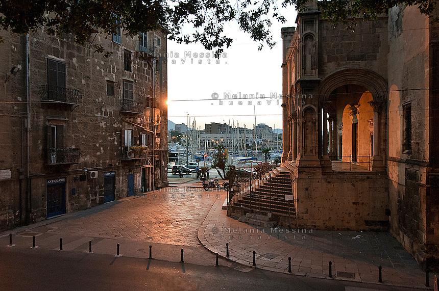&quot;Santa Maria Della Catena&quot; church 16th century, next to the harbor in Palermo.<br /> Chiesa &quot;Santa Maria Della Catena&quot;(XVI sec.) di fronte al porto nel centro storico di Palermo