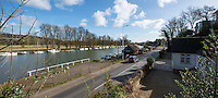 BNPS.co.uk (01202 558833)<br /> Pic: PhilYeomans/BNPS<br /> <br /> The river sweeps into Pangbourne today.<br /> <br /> 'Old man river, he just keeps rollin' - A remarkable collection of panoramic photographs of the Thames taken 160 years ago have emerged for auction, and they reveal how little the famous old river has changed in the last century and a half.<br /> <br /> They follow the river from London to Oxford in 40 photographs providing a fascinating insight into how the famous river looked in the mid-19th century.<br /> <br /> Londoner Victor Prout started photographing the Thames in 1857 using a camera which would produce wide-vision images because of a lens that swung round and 'scanned' sections of the picture.<br /> <br /> This rare complete copy of the first edition of Prout's pioneering panoramics has emerged for auction and is tipped to sell for &pound;12,000 when they go under the hammer at Bonhams on March 1.