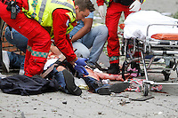 (July22,2010) A man is treated for injuries received after a large vehicle bomb was detonated near the offices of Norwegian Prime Minister Jens Stoltenberg on 22 July 2011. Although Stoltenberg was reportedly unharmed the blast resulted in several injuries and deaths. <br />