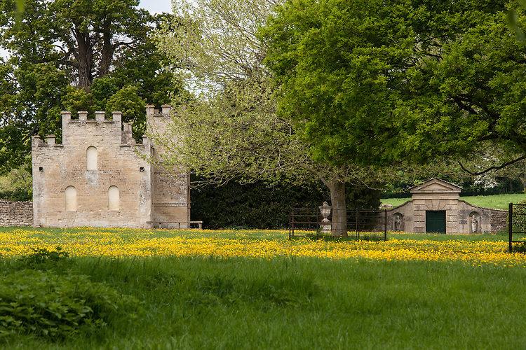 Gothic Seat (by William Kent) and Paladian doorway, Rousham House and Garden.