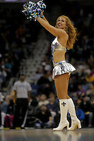 Nov 19, 2009; New Orleans, LA, USA;  A New Orleans Hornets Honeybees dancer performs during a game against the Phoenix Suns at the New Orleans Arena. The Hornets defeated the Suns 110-103. Mandatory Credit: Derick E. Hingle-US PRESSWIRE