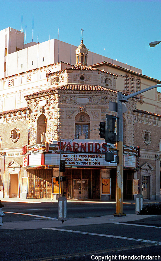 Movie Theatre: Fresno, CA.--Warnor's Theater, 1929. Spanish Colonial Revival. Octagonal Tower, Drum, Lantern.
