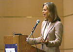 Christie Hefner, Daughter of Hugh Heffner )Playboy Magazine) speaking at a WomanSage event on 10/29/05.