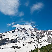 Mount Rainier from near Paradise in summer, Mt Rainier national park, Washington, USA