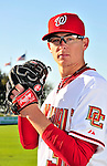 28 February 2010: Washington Nationals relief pitcher Tyler Clippard poses for his Spring Training photo at Space Coast Stadium in Viera, Florida. Mandatory Credit: Ed Wolfstein Photo