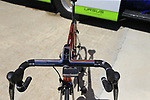 Filippo Pozzato's (ITA) Wilier Triestina-Selle Italia team Wilier bike in retro chromovelato colour scheme lined up outside the team bus at Arbatax before the start of Stage 3 of the 100th edition of the Giro d'Italia 2017, running 148km from Tortoli to Cagliari, Sardinia, Italy. 7th May 2017.<br /> Picture: Eoin Clarke | Cyclefile<br /> <br /> <br /> All photos usage must carry mandatory copyright credit (&copy; Cyclefile | Eoin Clarke)