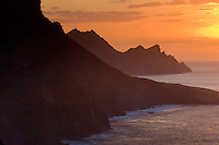 The North-west coast of Gran Canaria Island at sunset. Gran Canaria Island, Canary Islands, Spain.