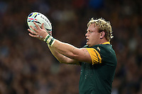 Adriaan Strauss of South Africa looks to throw into a lineout. Rugby World Cup Bronze Final between South Africa and Argentina on October 30, 2015 at The Stadium, Queen Elizabeth Olympic Park in London, England. Photo by: Patrick Khachfe / Onside Images