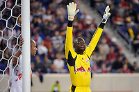 New York Red Bulls goalkeeper Bouna Coundoul (18) readies for a corner kick. The New York Red Bulls defeated Sporting Kansas City 1-0 during a Major League Soccer (MLS) match at Red Bull Arena in Harrison, NJ, on April 30, 2011.