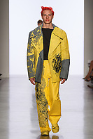 Model walks runway in an outfit by Seokwoon Yoon, for the 2017 Pratt fashion show on May 4, 2017 at Spring Studios in New York City.