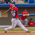 7 March 2015: Washington Nationals catcher Dan Butler in Spring Training action against the St. Louis Cardinals at Space Coast Stadium in Viera, Florida. The Nationals rallied to defeat the Cardinals 6-5 in Grapefruit League play. Mandatory Credit: Ed Wolfstein Photo *** RAW (NEF) Image File Available ***