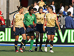 14 July 2007: United States substitutes Natasha Kai (6), Briana Scurry (1), Marian Dalmy (2), and Shannon Boxx (7). The United States Women's National Team defeated their counterparts from Norway 1-0 at Rentschler Stadium in East Hartford, Connecticut in a women's international friendly soccer game.