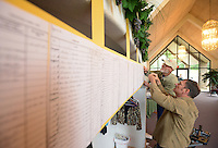NWA Democrat-Gazette/BEN GOFF @NWABENGOFF<br /> Ross Hinshaw (right) and Ivan Andersen hang copies of pages from the church registry on Friday May 20, 2016 while decorating in celebration the 130th anniversary of Springdale Adventist Fellowship.