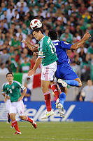 Javier Hernandez (14) of Mexico goes up for a header. Mexico defeated Guatemala 2-1 during a quarterfinal match of the 2011 CONCACAF Gold Cup at the New Meadowlands Stadium in East Rutherford, NJ, on June 18, 2011.