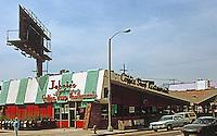 Googies: Johnie's Coffee Shop, NW Corner Fairfax & Wilshire, Los Angeles, 1950's.