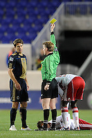 Stefani Miglioranzi (6) of the Philadelphia Union receives a yellow card from referee Andrew Chapin. The New York Red Bulls defeated the Philadelphia Union 2-1 during a US Open Cup qualifier at Red Bull Arena in Harrison, NJ, on April 27, 2010.