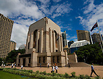 ANZAC War Memorial, Sydney, Australia. Finished in 1934 after designs and art by C. Bruce Dellit and sculptor Rayner Hoff, it commemorates the Australian War dead of World War One. ..Many of the original sculptures didn't make it in the memorial, thanks to censure by the Catholic church, and its bishop, Michael Sheehan. .. The sculpture that caused the sensation, The Crucifixion of Civilisation, is pictured below. It is shocking. A naked figure on a cross, a young woman, sits atop a pyramid of broken soldiers, corpses, weapons, helmets, the debris of battle. The detail is hyper-real and brilliantly executed. Hoff described the symbolism of his central figure: &quot;Adolescent Peace is depicted crucified on the armaments of the ravisher, the war god, Mars. The Greek helmet animalistically gapes over the head of expiring Peace, the cuirass of the body armour hard and brutal in contrast to her lithe woman's body.&quot;..Lithe women's bodies have always caused problems for the Catholic Church, and Hoff's depictions of the human body were intrinsically sensual. (His famous 1924 sculpture, Faun and Nymph, part of the collection of the Art Gallery of NSW, is basically pornographic.) This particular lithe naked woman was especially problematic...The Catholic archbishop of Sydney, Michael Sheehan, announced that he would not be attending the laying of the foundation stone on July 19, 1932. The memorial, he said, was &quot;obviously intended only for Protestants&quot;. As for the young woman on the cross, this image was &quot;gravely offensive to ordinary Christian decency&quot;..http://www.smh.com.au/articles/2004/04/18/1082226632478.html?from=storyrhs.
