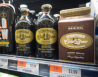Containers of Stumptown Coffee Roasters' Cold Brewed Coffee in a supermarket in New York on Wednesday, October 7, 2015. Peet's Coffee & Tea has bought Stumptown Coffee Roasters for an undisclosed sum. Stumptown has a cult-like following and the two brands are expected to operate independently. (© Richard B. Levine)