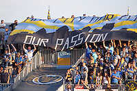 CHESTER, PA - AUGUST 12, 2012:  Fans of the Philadelphia Union before playing the Chicago Fire in an MLS match at PPL Park, in Chester, PA on August 12. Fire won 3-1.