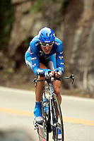 Jason McCartney, of the Discovery Channel Pro Cycling Team, descends Lookout Mountain, near the Tennessee border, during the Stage 3 individual time trial of the Ford Tour de Georgia pro cycling race. McCartney finished 6th in the 24.8-mile (39.9km) stage with a time of 55:52.23.<br />