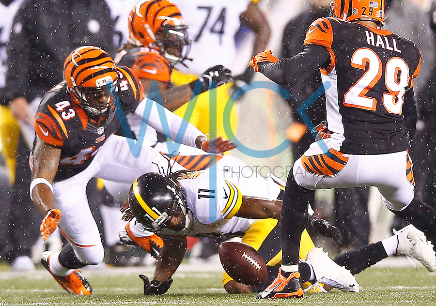 Markus Wheaton #11 of the Pittsburgh Steelers fumbles the ball after catching a pass against the Cincinnati Bengals during the Wild Card playoff game at Paul Brown Stadium on January 9, 2016 in Cincinnati, Ohio. (Photo by Jared Wickerham/DKPittsburghSports)