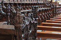 Sculptural detail on the Renaissance choir stalls of the North choir built 1508-19, with more than 4000 figures from the old and new testaments and scenes from the life of the Virgin, in the Basilique Cathedrale Notre-Dame d'Amiens or Cathedral Basilica of Our Lady of Amiens, built 1220-70 in Gothic style, Amiens, Picardy, France. Amiens Cathedral was listed as a UNESCO World Heritage Site in 1981. Picture by Manuel Cohen