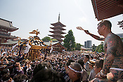 Members of the Takahashi-gumi Japanese yakuza crime syndicate carry their mikoshi portable shrine through the grounds of Asakusa Shrine in Asakusa district, before carrying it through the streets as part of the 2nd day of the Sanja festival, at in Tokyo, Japan, Staurday May 19th 2012.