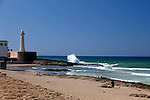 Africa, Morocco, Rabat. Beach and lighthouse of Rabat.