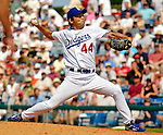 13 March 2007: Los Angeles Dodgers pitcher Takashi Saito on the mound against the Detroit Tigers in a spring training game at Holman Stadium in Vero Beach, Florida.<br /> <br /> Mandatory Photo Credit: Ed Wolfstein Photo