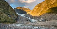 Evening views of Fox Glacier terminus and Fox River, Westland Tai Poutini National Park, UNESCO World Heritage Area, South Westland, New Zealand, NZ