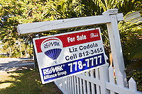 For Sale sign at vacation resort location, Anna Maria Island, Florida, United States of America