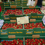 Hood strawberries for sale at the Portland Farmers' Market in Portland, Oregon