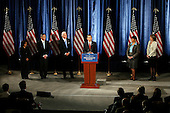 Chicago, IL - December 15, 2008 -- United States President-elect Barack Obama speaks during a news conference with Vice President-elect Joe Biden introducing Nobel physics laureate Steven Chu (2nd from Left) as energy secretary and Lisa Jackson, (2nd from right) to run the EPA, during a news conference in Chicago December 15, 2008. Obama also named former Environmental Protection Agency chief Carol Browner (R) to head a new council to coordinate White House energy, climate and environment policies, and Nancy Sutley (L), a deputy mayor of Los Angeles, as head of the White House Council on environmental quality, Monday, December 15, 2008. .Credit: Jeff Haynes / CNP