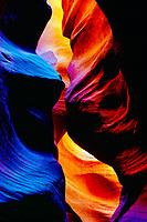 Inside a slot canyon, Proposed Kanab Creek Wilderness, Utah, narrow canyon in Navajo sandstone, swirled sandstone erosion from flashfloods