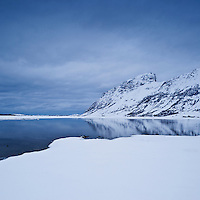 Steirapollen lake winter landscape, Vestvagoy, Lofoten islands, Norway