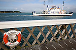 Wightlink, Lymington, Car Ferry, life belt, pier, yarmouth, Isle of Wight, England, UK