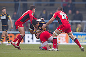 No way through for Billy Vunipola of London Wasps RFC - London Wasps RFC vs Saracens RFC - Aviva Premiership Rugby at Adams Park, Wycombe Wanderers FC - 12/02/12 - MANDATORY CREDIT: Ray Lawrence/TGSPHOTO - Self billing applies where appropriate - 0845 094 6026 - contact@tgsphoto.co.uk - NO UNPAID USE.
