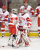 Alissa Fromkin (BU - 30), Braly Hiller (BU - 31) - The Northeastern University Huskies tied Boston University Terriers 3-3 in the 2011 Beanpot consolation game on Tuesday, February 15, 2011, at Conte Forum in Chestnut Hill, Massachusetts.