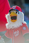 19 September 2015: Washington Nationals Mascot Screech entertains fans prior to a game against the Miami Marlins at Nationals Park in Washington, DC. The Nationals defeated the Marlins 5-2 in the third game of their 4-game series. Mandatory Credit: Ed Wolfstein Photo *** RAW (NEF) Image File Available ***