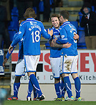 St Johnstone v St Mirren.....11.01.14   SPFL<br /> Stevie May celebrates his goal with Murray Davidson and Gary McDonald<br /> Picture by Graeme Hart.<br /> Copyright Perthshire Picture Agency<br /> Tel: 01738 623350  Mobile: 07990 594431
