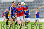 I.S. Killorglin Darragh O'Connor uses his head to get past  Tralee CBS Brandon Patterson during Corn Uí Mhuírí Q/F in Fitzgerald Stadium on Wednesday
