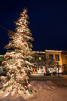 """Snowy Christmas Tree in Truckee 4"" - This snow covered Christmas tree was photographed in Downtown Truckee, California."