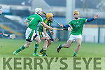 John Griffin Kerry in action against Seamus Hickey and Tom Morrissey Limerick in the Munster Hurling League Round 4 at the Gaelic Grounds, Limerick on Sunday.