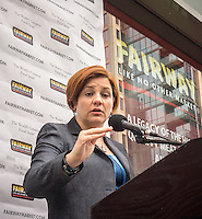 "NYC mayoral candidate and City Council Speak Christine Quinn speaks at Fairway supermarket in the Chelsea neighborhood of New York on its grand opening day, Wednesday, July 24, 2013. The store is the fifth in Manhattan and is an epicurean delight carrying olive oils, cheeses, sushi and their famous deli department. The Chelsea location puts the store in the middle of ""supermarket-ville"" with Whole Foods, Gristedes and Trader Joe's all having locations in the immediate vicinity.(© Richard B. Levine)"