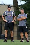 05 September 2015: Iona head coach Fernando Barboto (right) with assistant coach James Hamilton (left). The Duke University Blue Devils hosted the Iona University Gaels at Koskinen Stadium in Durham, NC in a 2015 NCAA Division I Men's Soccer match. Duke won the game 2-1.